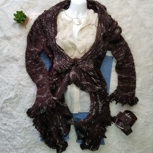 L Ruffled Boucle Knit Cardigan Sweater Fringed